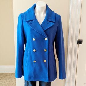 J.Crew Stadium Cloth by Nello Gori blue pea coat.